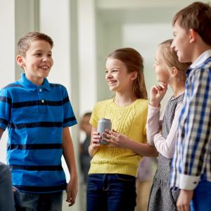 Four kids talking